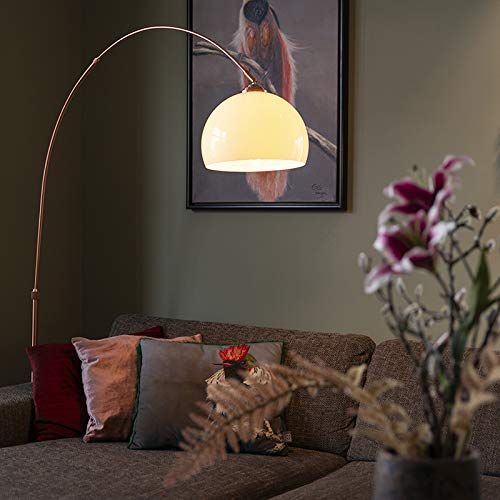QAZQA - Moderne Bogenlampe Kupfer mit weißem Lampenschirm - Arc Basic | Wohnzimmer - Stahl Rund | Länglich - LED geeignet E27