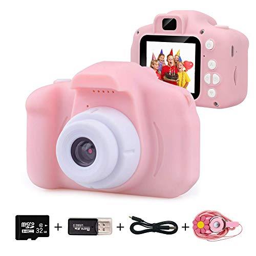 EMISK Kids Digital Camera for Girls Age 3-10, Toddler Cameras Mini Cartoon Rechargeable Video Camera with 2 Inch IPS Screen and 32GB SD Card Child Camcorder Toy Gift for Kid's Birthday (Pink)