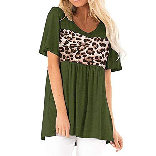 PRJN Women's Sexy Casual Autumn Loose Short Sleeve V-Neck Top Women's Casual V-Neck Short Sleeve Loose Shirt Blouse Tops Womens Summer Short Sleeve T-Shirt V-Neck Leopard T Shirt