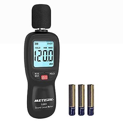 Decibel Meter,Meterk Digital Sound Level Meter, Range 30-130dB(A) Noise Volume Measuring Instrument Self-Calibrated Decibel Monitoring Tester(Battery Included)