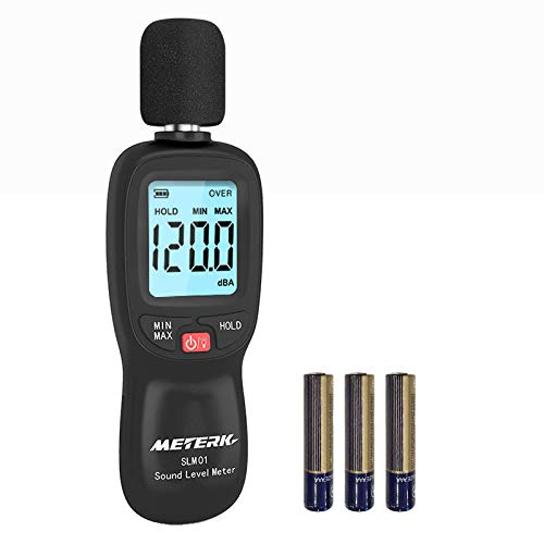 Fonometro Meterk 30-130 dBA 31.5-8KHz Misuratore di Rumore Max/Min/Data Hold, Allarme Retroilluminazione...