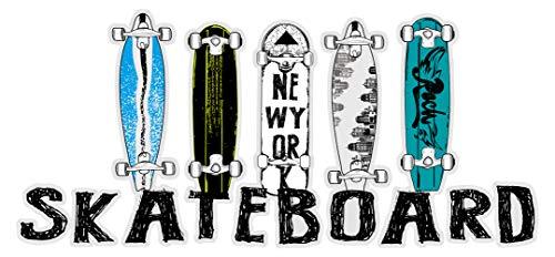 Wandtattoo Jugendzimmer Wandsticker Farbige Skateboard Decks mit Schriftzug Ska