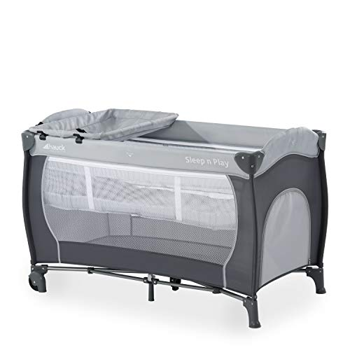 Hauck Sleep N Play Centre, 7-part Folding Travel Cot from Birth to 15 kg, Bassinet and Changing Top, Folding Mattress and Wheels, Side Opening, 120 x 60 cm, Stone Grey