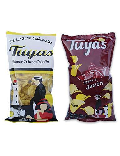 Patatas fritas sabor jamon - Patatas fritas sabor huevo frito y cebollas - Patatas Tuyas