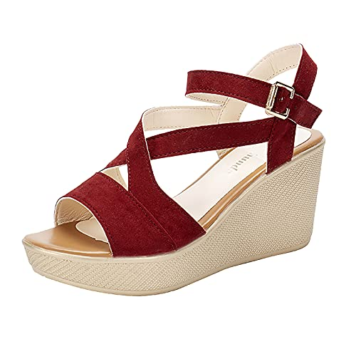 USYFAKGH Wedge Sandals For Women 10 Women Fashion Crystal Elastic Band Solid Outdoor Sandals Casual Shoes (Red ,7)