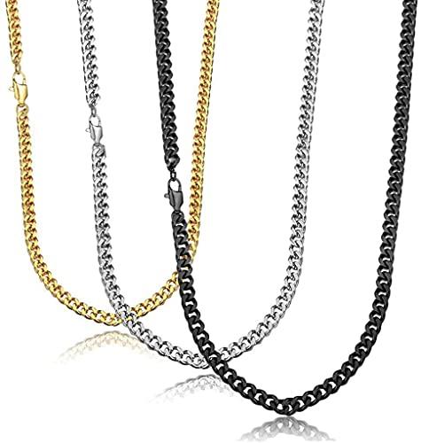 JeweBella 3 Pcs Collare Cadenas Cubanas para Hombres Mujeres Cadena de Acero Inoxidable Collares Hombre Color Platino Dorado Negro Ancho 3MM, 40/45/50/55/60/65/70/75cm de Largo