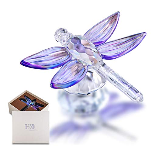 H&D HYALINE & DORA Standing Crystal Dragonfly with Diamond Ornament Glass Animal Figurines Collectibles Crystal Souvenir
