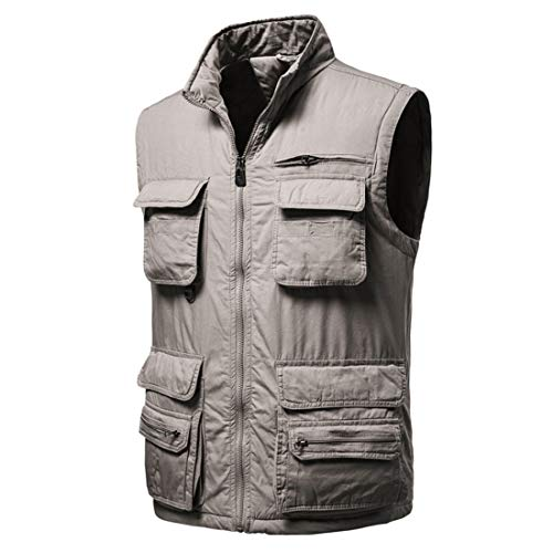 Men's Waistcoat Jacket Multi Pocket Vest Classic Lightweight Vest Outdoor Fishing Camping Outerwear Sleeveless Traveling Photography Hiking Gilet All-Season L