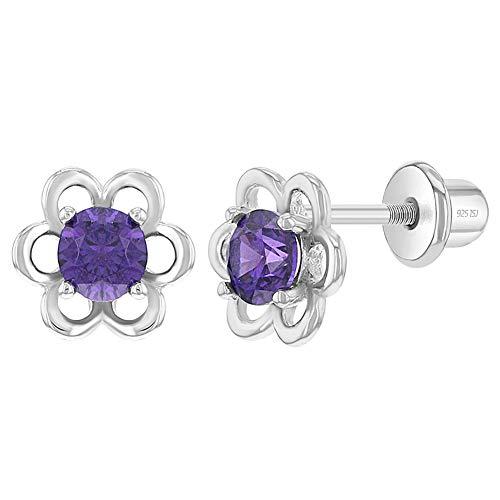In Season Jewelry - Orecchini a forma di fiore, in argento Sterling 925, con zirconi – chiusura a vite e Argento, colore: Lilla, cod. SS-03-00681-EU