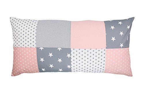 ULLENBOOM ® Baby Patchwork Kissen 40x80 cm Rosa Grau (Made in EU) - mit weichem Bezug & Füllung, ideal als Kinderkissen, Dekokissen im Kinderzimmer oder zur Deko im Wohnzimmer