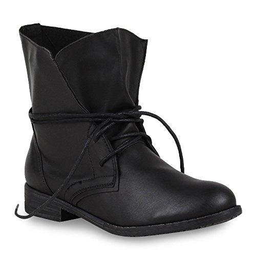 Trendy Damen Schuhe Stiefeletten Blockabsatz Leder-Optik 44438 Schwarz Schwarz 38 Flandell