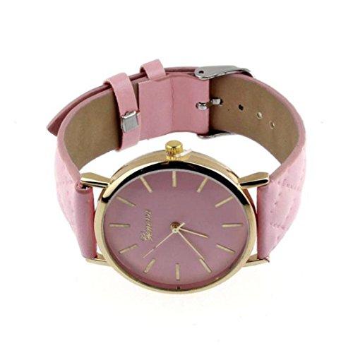 Ouneed® unisex Casual Ginebra Checkers piel sintética, diseño de reloj de pulsera de cuarzo, analógico