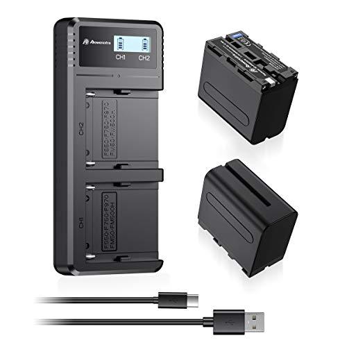 Powerextra LCD Dual Schnellladegerät mit 2 Stück Ersatzakku für Sony NP-F970 NP-F960 NP-F950 NP-F930 passend zu Sony CCD-TR/CCD-TRV/DCR-TR/DCS-CD/MVC-FD Series usw.