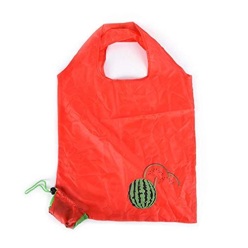 BelongsU 1 Pieza Reutilizable Bolsa de Compra Plegable Eco Bolsa de Supermercado Lavable Bolso de Mano Plegables Bolsa de Almacenamiento por Exterior Viaje Cámping Senderismo, Sandía