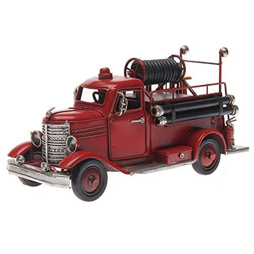 Pamer-Toys Coche de bomberos en chapa – estilo retro vintage – rojo