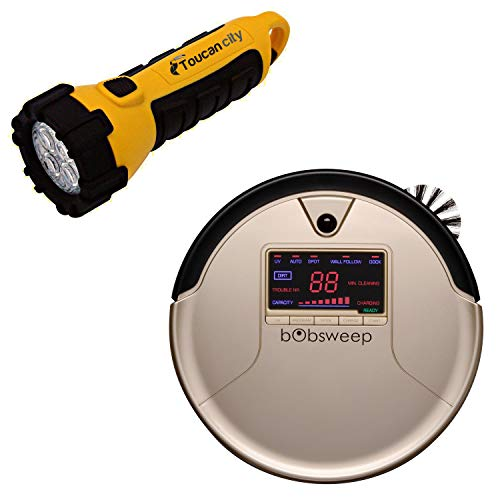 Toucan City LED Flashlight and bObsweep PetHair Robotic Vacuum Cleaner and Mop, Champagne WP460011CH