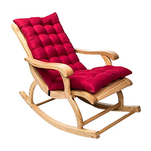 WarmCare Rocking Chair Cushion, Patio Lounge Chair Cushion high-Backed Cushion Thick Large Soft Relaxer Removable Chair Cushion (Red Wine)