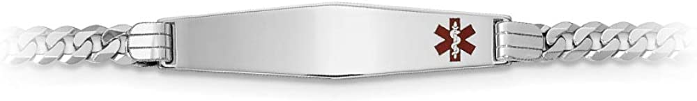 """14K White Gold Medical Red Enamel Flat Curb Link ID Bracelet with Lobster Clasp, 8"""""""