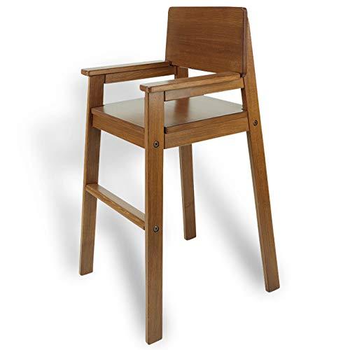 Madyes kinderstoel hoge stoel massief hout beuken kleur teak. Modern design. Trapstoel beuken voor eettafel, kinderhoge stoel voor kinderen, stabiel en onderhoudsvriendelijk, vele kleuren mogelijk