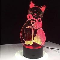 3D LED錯視ランプ かわいいフラッシュ猫7色常夜灯雰囲気光猫気分タッチ家の装飾子供ギフトを変更