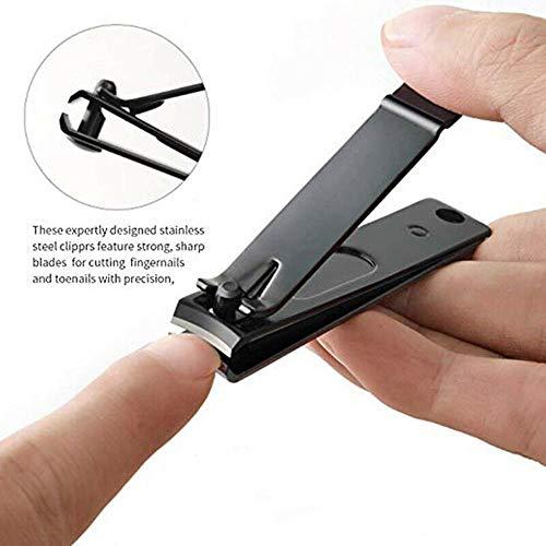 Gouen 8PcsSet Multifunctionele Duurzame Nagelknipper Set Roestvrij Staal Zwart Manicure Set DraagbaarReisnagelgereedschap, Helder