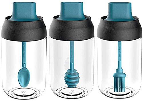Efforts Tarros de Cristal con Tapa, Tarros Especias Transparente con Etiquetas, Embudo, Cepillo, para Hogar y Cocina Tarro de Especias, para el Almacenaje de Organizador Especias (azul)