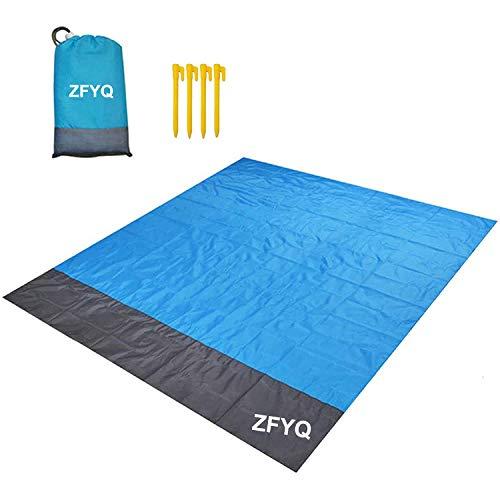 ZFYQ Alfombras de Playa, 200 x 210 cm Manta de Picnic con 4 Estaca Fijo para la Playa Acampar Picnic y Otra Actividad al Aire Libre