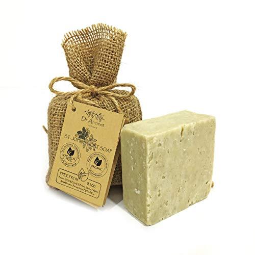 Orgánico natural vegano tradicional hecho a mano antiguo hierba de San Juan Kantaron barra de jabón - Efectiva para la erupción del pañal, quemaduras leves, curación de las heridas