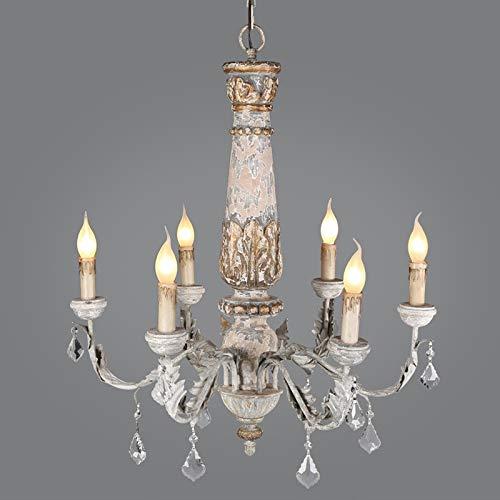 KAIBINY YY Crystal Lustre de la Vendimia de iluminación Madera lámpara de Hierro Pendiente de la lámpara de la Sala Cocina Dormitorio Retro Loft artefactos de iluminación (Size : 6lights Dia60xH70cm)