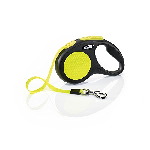 FLEXI New Neon Retractable 16' Dog Leash Tape, Small, Black/Neon