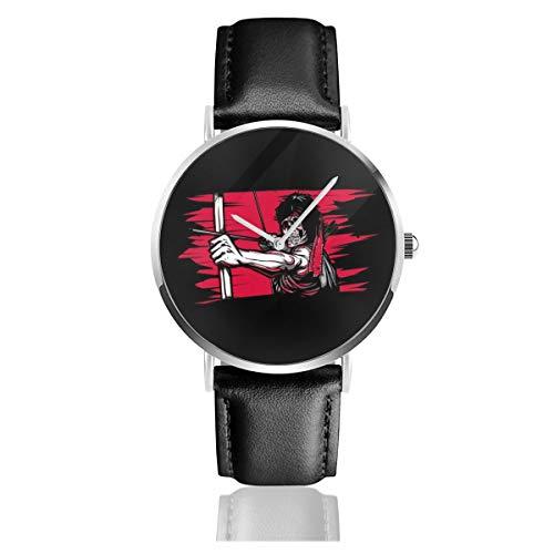 Unisex Business Casual First Blood Skelett Rambo Uhren Quarz Leder Uhr mit schwarzem Lederband für Männer Frauen Young Collection Geschenk