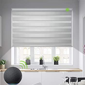 Yoolax Motorized Zebra Blinds Works with Alexa Light Filtering Day and Night Dual Layer Sheer Blinds Custom Size Privacy Light Control Horizontal Window Blind for Home  90% Shading Greyish White