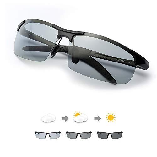 TJUTR Uomo Occhiali Da Sole Fotocromatici Polarizzati Ultraleggero Cornice Metallica -Protezione 100% UVA UVB (Noir/Gris(sport))