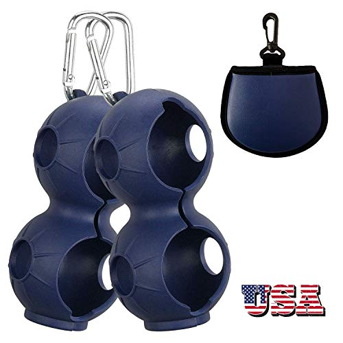 Amy Sport Golf Ball Holder Soft Silicone Clip 2 Pack with Cleaner Pouch Pocket Red Navy Blur Balls Sleeve Bag Aluminum Hook to Belt Bags for Men Women Kids (2 Pack in Navy Blue)