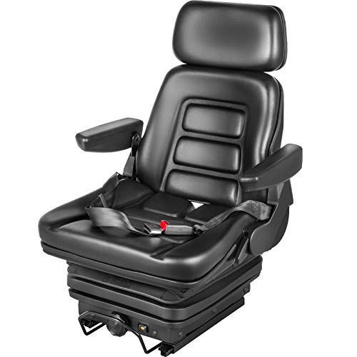 VEVOR Suspension Seat Adjustable Backrest Headrest Armrest, Forklift Seat with Slide Rails, Foldable Heavy Duty for Tractor Forklift Excavator Skid Steer