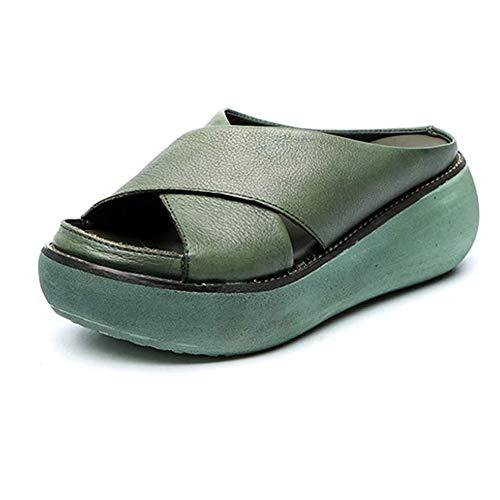 XXZ Damen Plateau Pantoletten mit Kork Keilabsatz Sandalen Peep Toe Schuhe Keilsandalen Sandalette Sommerschuh Hausschuhe Absatzschuhe,Grün,40