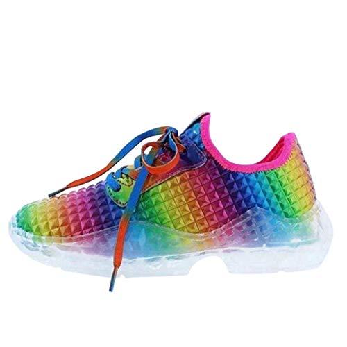 Huhu833 Damen Plateau Sneaker Bunt Freizeit Atmungsaktiv Turnschuhe Keilabsatz Laufschuhe Sportschuhe Leichte rutschfeste Sneaker Dämpfung Fitness Schuhe Sommer (Bunt, 39 EU)