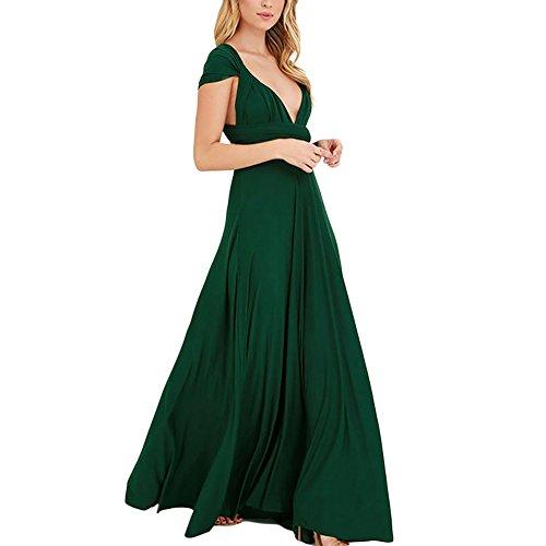 Lover-Beauty Kleider Damen V-Ausschnitt Rückenfrei Neckholder Abendkleider Elegant Cocktailkleid Multi-Way Maxikleid Lang Chiffon Party Kleid, Grün, (EU 40-42)XL