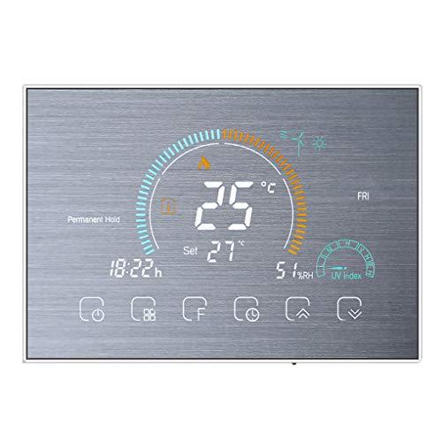 Weilifang Wi-Fi Inteligente de Pantalla retroiluminada Termostato Programable de termostato táctil LCD termostato eléctrico Controlador de calefacción, de Plata