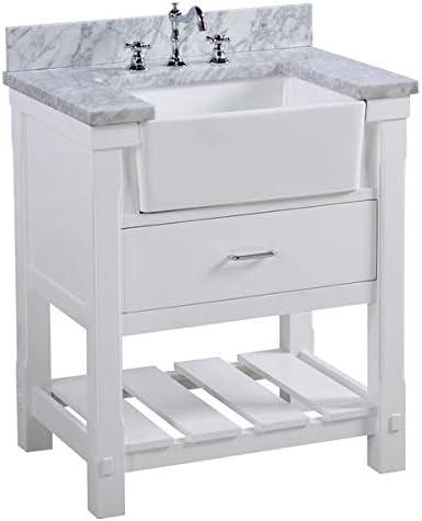 Amazon Com Charlotte 30 Inch Bathroom Vanity Carrara White Includes White Cabinet With Authentic Italian Carrara Marble Countertop And White Ceramic Farmhouse Apron Sink Home Improvement