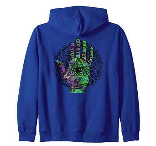 Psychedelic Hamsa Hand Trippy Colorful Third Eye Green Swirl Zip Hoodie