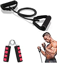 Alpha Forge Ultimate Resistance Exercise Band Kit - Resistance Tube Exercise Bands + Hand Grip Strengthener Combo for Musc...