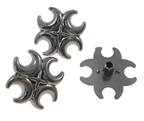 10Sets Gunmetal Celtic Spur Double Cross Rivets Leather Concho RV092
