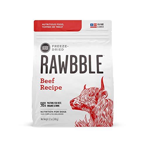 BIXBI Rawbble Freeze Dried Dog Food, Beef Recipe, 12 Oz