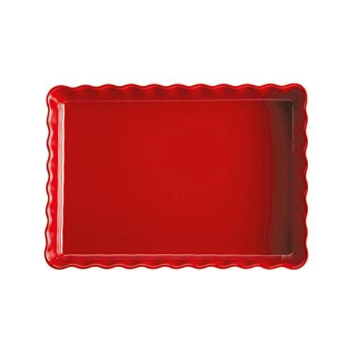 Emile Henry EH346038 Tourtière Rectangulaire, Céramique, Rouge Grand Cru, 33, 5 x 24 x 5 cm
