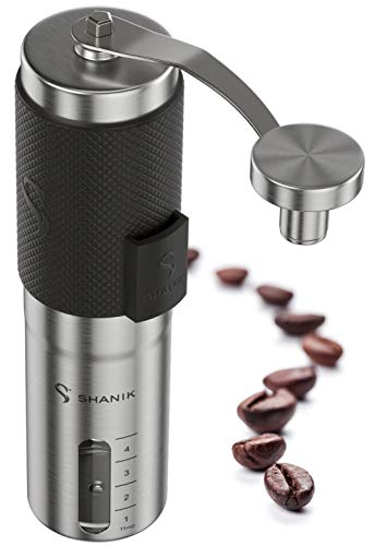 Premium Quality Stainless Steel Manual Coffee Grinder - Portable Burr Coffee Grinder - Conical Ceramic Burr for Precision Brewing - Silicone Lid to Keep Coffee in Container (Black)