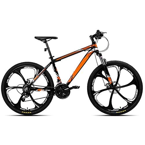 HUAQINEI Double disc brake mountain bike 21-speed 26-inch aluminum alloy suspension bike,Red