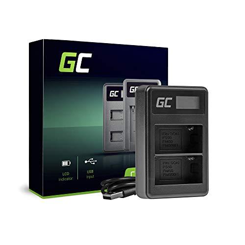 Green Cell® BC-V615 AC-VL1 - Cargador doble para batería Sony NP-FM500H y A58 A57 A65 A77 A99 A900 A700 A580 A560 A550 A850 SLT A99 II DSR UPX CCD CR CRX10U CVX (5 W, 8,4 V, 0,6 A), color negro