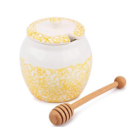 Honigtöpfe Chase Chic Keramik-Honigtopf 450ml (15.5oz) mit Holzlöffel und Deckel für die Wohnküche, von Honig und Sirup, Porzellan-Honigbehälter zur Aufbewahrung (gelb)