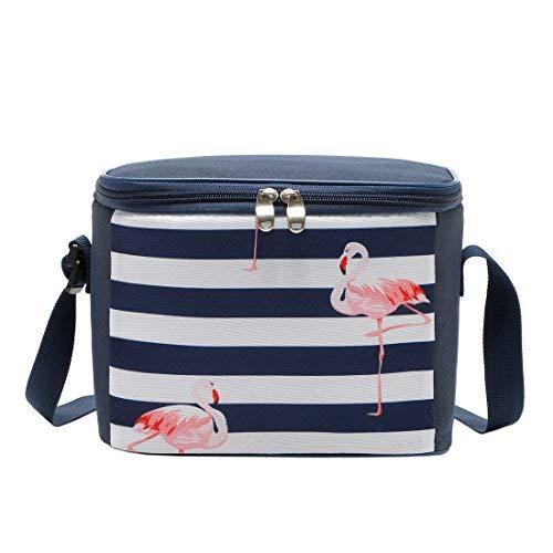 Yvonnelee glacière 5L sac isotherme sac déjeuner pour école, travail, pique-nique, cyclisme, courses, transport alimentaire pour femme homme et enfant Flamingos